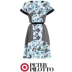 Peter Pilotto Hi-Lo Floral Elastic Dress Ruffled